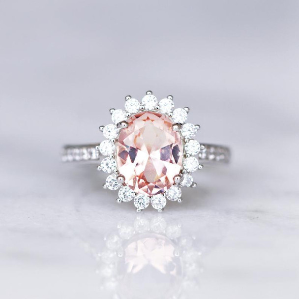 Pink Gemstone Engagement Promise Ring  Oval Morganite Ring Silver Ring
