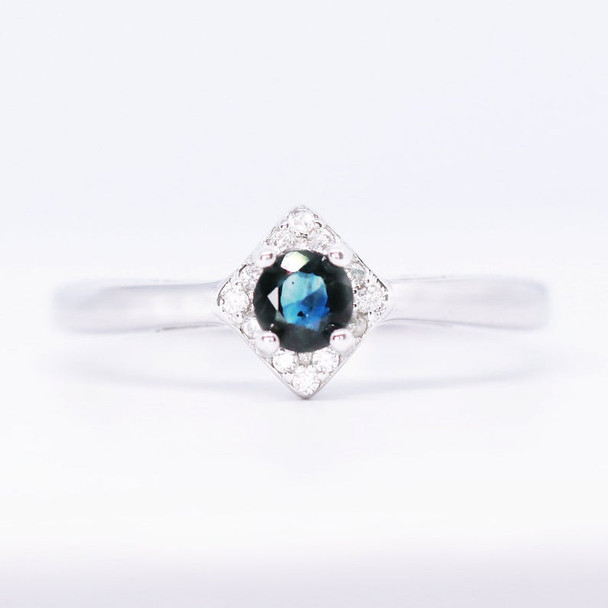 Round Cut Sapphire Ring Sterling Silver Ring Dainty Ring Engagement Ring