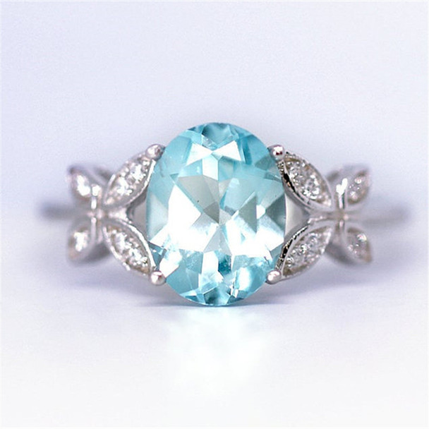 Art Deco Butterfly Engagement Ring Aquamarine Ring Sterling Silver Ring
