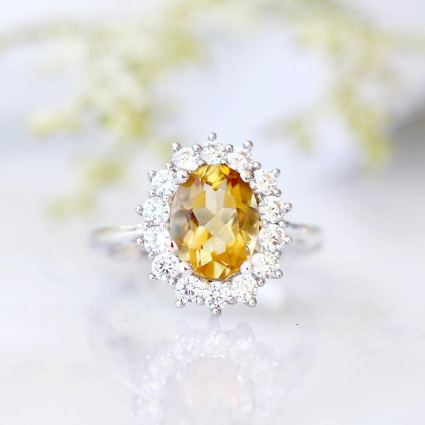 Citrine Ring Sterling Silver Ring November Birthstone Ring Anniversary Ring