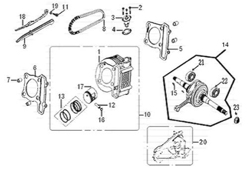 22 Left Crankshaft Bearing 6204