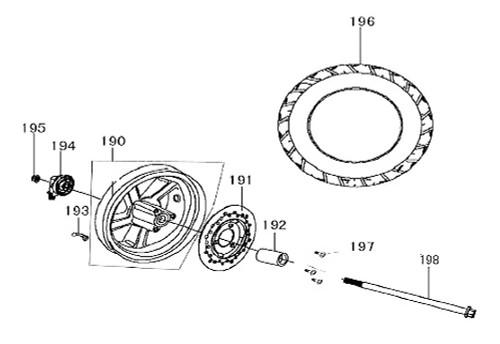 198 Axle Fr Wheel