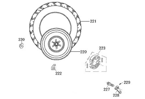 220 Rear Wheel Rim Mt 3.50x10