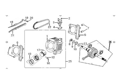 25 Cylinder, Piston, Piston Rings, Circlip, Piston Pin Group