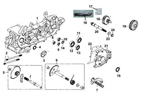 06 Kick Start Spindle Assy