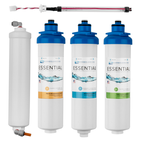 Complete Filter Set for ESSENTIAL 4-Stage Reverse Osmosis System with UV (Filter Set #: F.SET.RO4-UV)