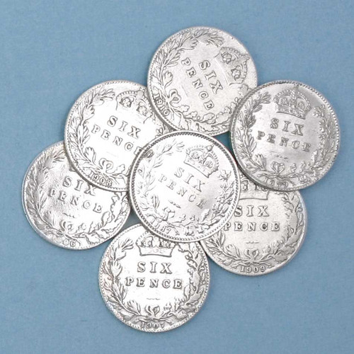 100 year old sixpence coins