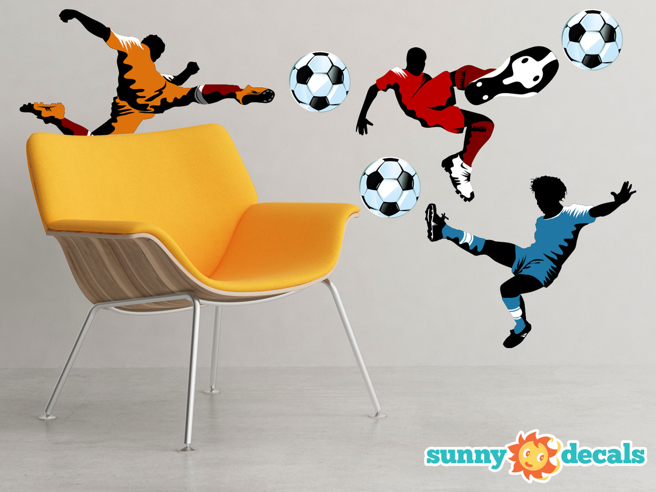 Soccer Fabric Wall Decals Set Of 3 Large Soccer Players Sunny Decals