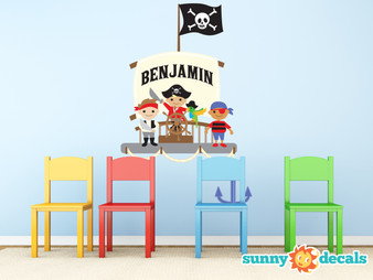 Pirate Ship with Custom Name Fabric Wall Decal - Sunny Decals