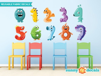 Monster Numbers Fabric Wall Decals, Colorful Numbers from 0 to 9 - Sunny Decals