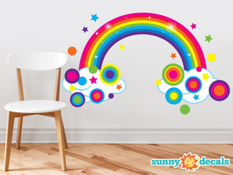 Rainbow Fabric Wall Decal, Sparkling Rainbow with Polka Dots and Stars - Large - Sunny Decals