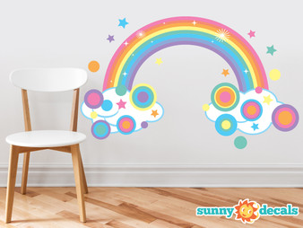 Rainbow Fabric Wall Decal, Sparkling Rainbow with Polka Dots and Stars in Pastel Colors - Large - Sunny Decals