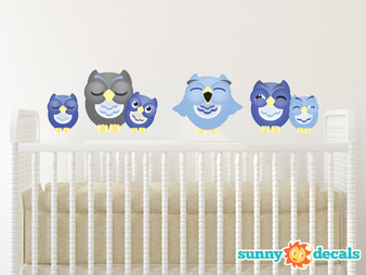 Sleepy Owl Fabric Wall Decals, Set of 6 Owls, Dark Blue, Light Blue, and Grey - Sunny Decals
