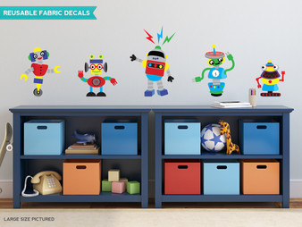 Robot Fabric Wall Decals, Set of 5 Cool Robots, 3 Size Options - Sunny Decals