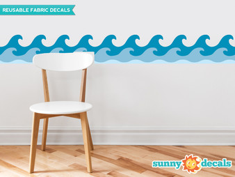 "Wave Wall Border Fabric Wall Decal - Set of Two 24"" x 7.8"" Sections - Original - Sunny Decals"