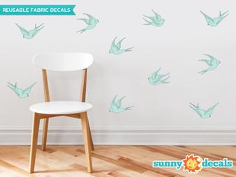 Modern Birds Wall Decals, Set of 10 Birds - Aqua - Sunny Decals