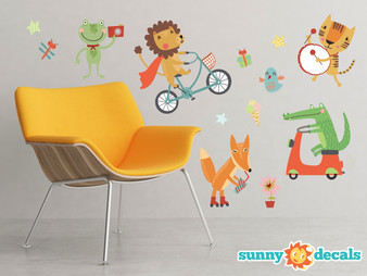 Fun Animals Fabric Wall Decals - Set of 8 Animals and Insects - Alligator, Lion, Fox and More - Sunny Decals