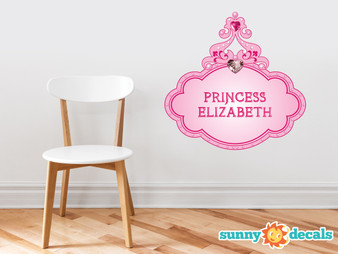 Princess Fabric Wall Decal with Custom Name - Pink - Sunny Decals