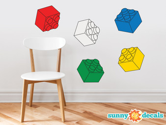 Three Dimensional Building Blocks Fabric Wall Decals - Set of 5 Blocks in 5 Colors - Sunny Decals