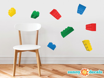 Projecting Building Block Bricks Fabric Wall Decals - Multi color - Sunny Decals