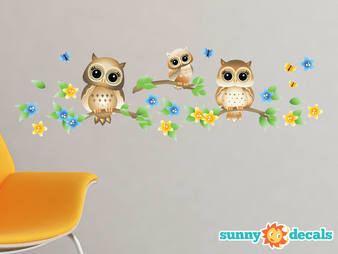 Owls on a Branch Fabric Wall Decals, Set of 3 Owls with Branches, Stars, and Flowers - Zoom Brown - Sunny Decals