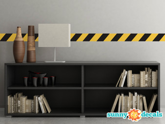 """Caution Tape Border Fabric Wall Decal - Set of Two 25"""" x 4"""" Sections - Construction Themed Decal - Sunny Decals"""
