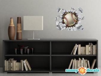 Baseball Bursting Through Fabric Wall Decal - Softball Wall Sticker - Sunny Decals