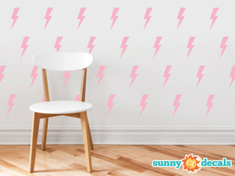 Lighting Bolts Fabric Wall Decals - Set of 50 Thunder Decals - Sunny Decals