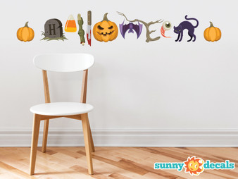 Halloween Words Fabric Wall Decals - Halloween Spelled out with Spooky Characters - Non-toxic, easy to apply wall decor