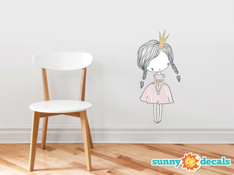 Princess Fabric Wall Decal - Hand Drawn Princess Peel and Stick Wall Decor, Children's Room Nursery Removable Wall Stickers Murals - Sunny Decals