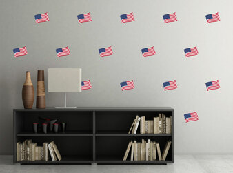 Waving American Flag Fabric Wall Decal- Set of 15 Flags