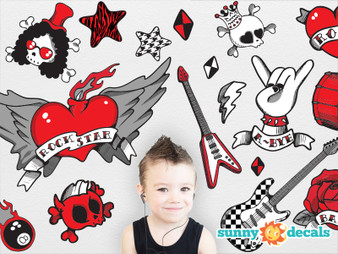 Rock Star Fabric Wall Decals - Red, Black, Grey - Boy- Sunny Decals