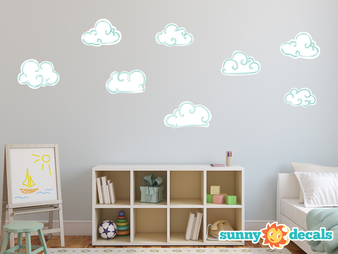 Hand Drawn Fabric Wall Decals - White - Sunny Decals