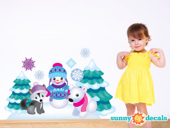Frozen Inspired Animals with Snowman, Fox, Polar Bear, Trees - Sunny Decals