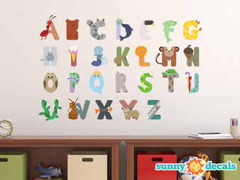 Animal Alphabet Fabric Wall Decals - Ant, Dolphin, Hippo, Monkey and More - Sunny Decals