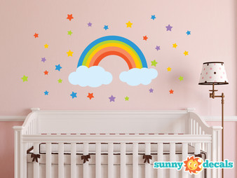 Rainbow Fabric Wall Decal with Stars - Sunny Decals
