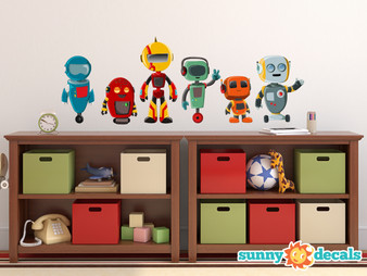 Robot Fabric Wall Decals, Set of 6 Cute Robots - Sunny Decals