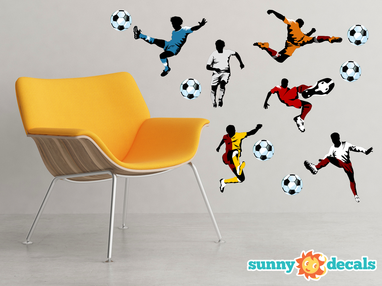 Soccer Fabric Wall Decals Set Of 6 Soccer Players Sunny Decals