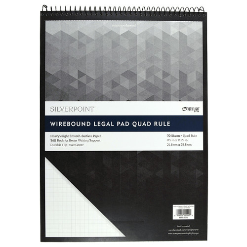 Silverpoint® Top Spiral, Quad Ruled Legal Pad, Durable Heavyweight Back, 70 Sheets