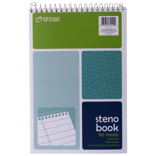 "Steno Book, 6"" x 9"", White Paper, Gregg Ruled"