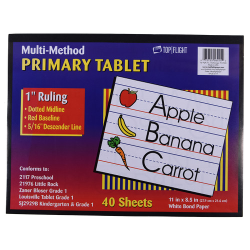 """Multi Method Learn to Letter Writing Tablet 1"""" Ruling, Grades 1 to 2, 40 sheets"""