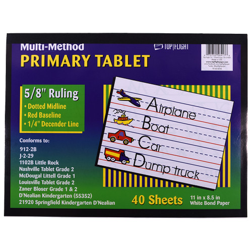 Multi Method Learn to Letter Writing Tablet 5/8-inch Ruling, Grades 1 - 2nd, 40 sheets