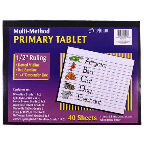 Multi Method Learn to Letter Writing Tablet 1/2-inch Ruling, Grade 3rd, 40 sheets