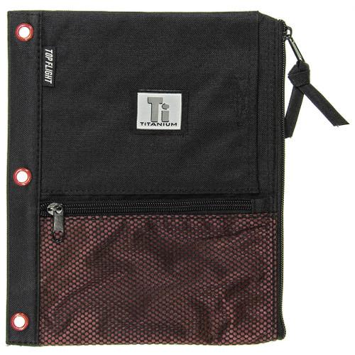 Titanium® Nylon Pencil Pouch, Zipper, 3 ring, 4 pockets, Black & Red