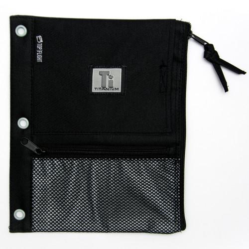 Titanium® Nylon Pencil Pouch, Zipper, 3 ring, mesh pockets, Black & Gray