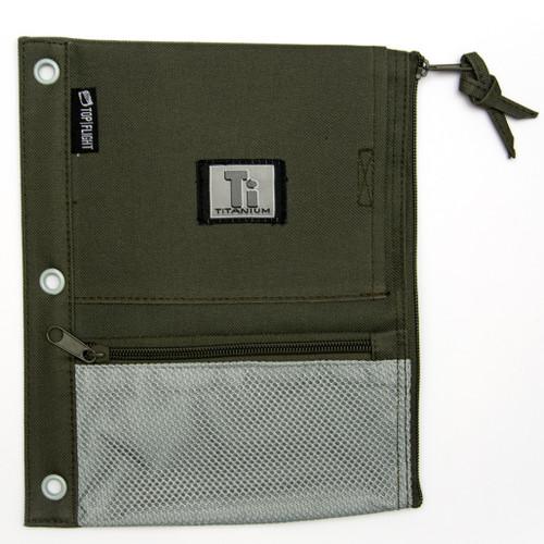 Titanium® Nylon Pencil Pouch, Zipper, 3 ring, mesh pockets, Olive & Gray