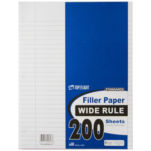 """Standards® Filler Paper, Wide-Ruled, 3 Hole Punched, 8.5"""" x 11"""" 200 sheets"""