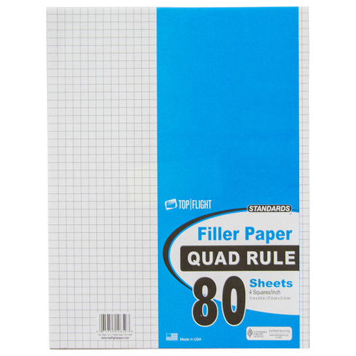 """Standards® Filler Paper, Quad Ruled, 3 Hole Punched, 8.5"""" x 11"""", 80 sheets"""