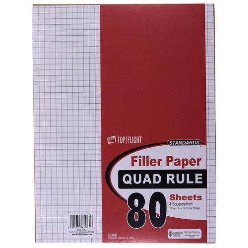 """Standards® Filler Paper, Quad Ruled, 3 Hole Punched, 8"""" x 10.5"""", 80 sheets"""