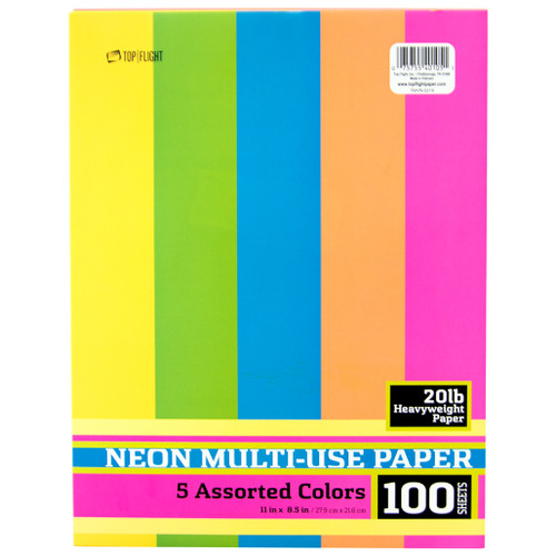 """Multi-purpose Neon Heavyweight Paper, Assorted Colors, 8 1/2"""" x 11"""", 100 sheets"""